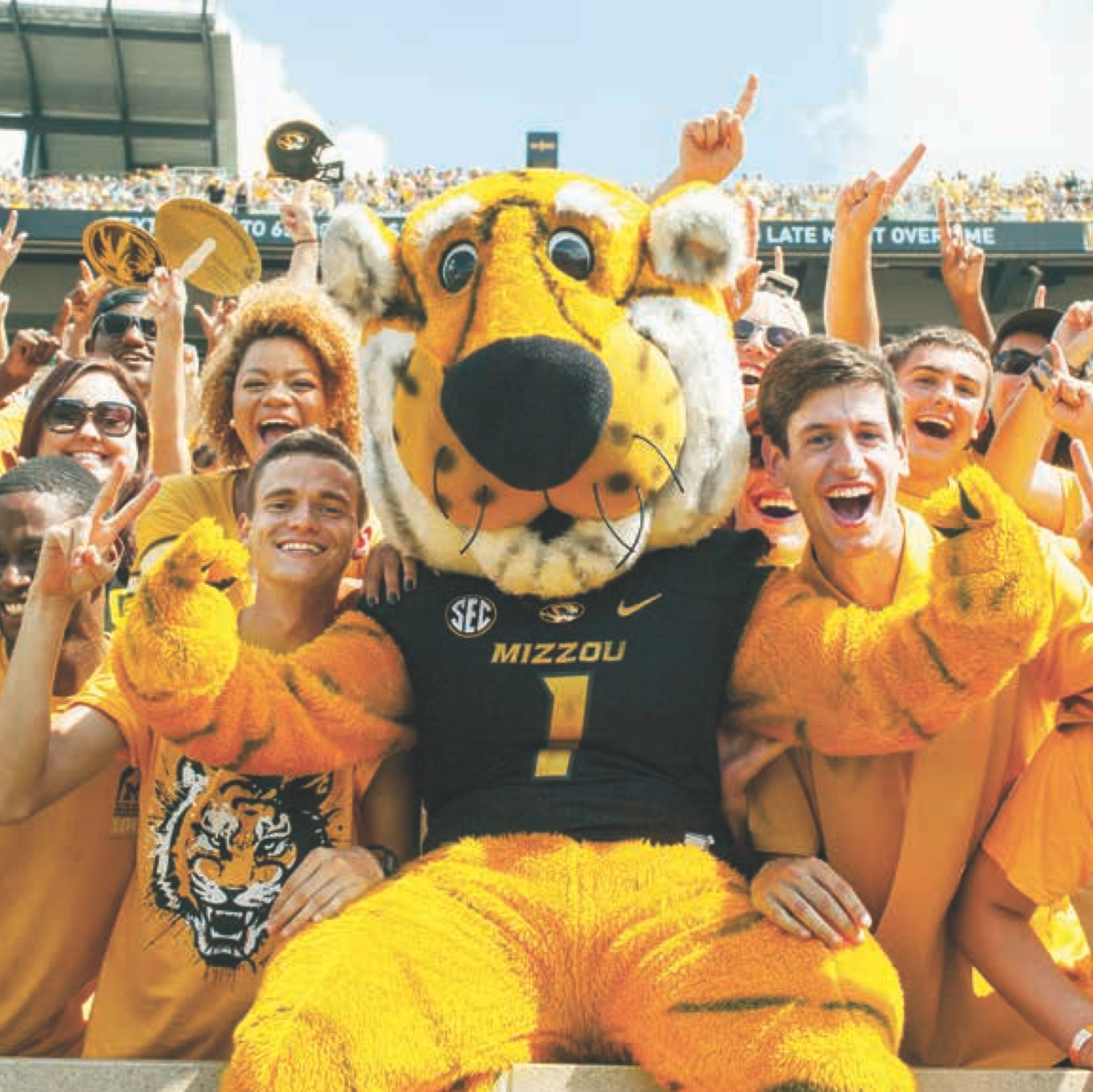 University of Missouri mascot with fans