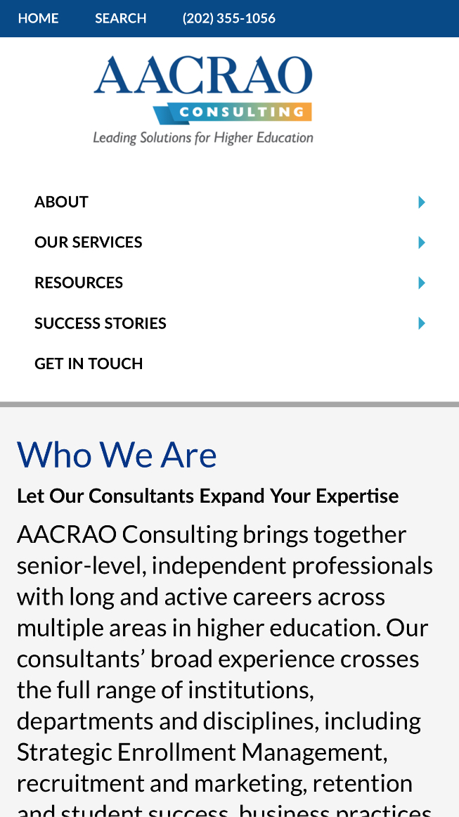 AACRAO Who We Are page in mobile format