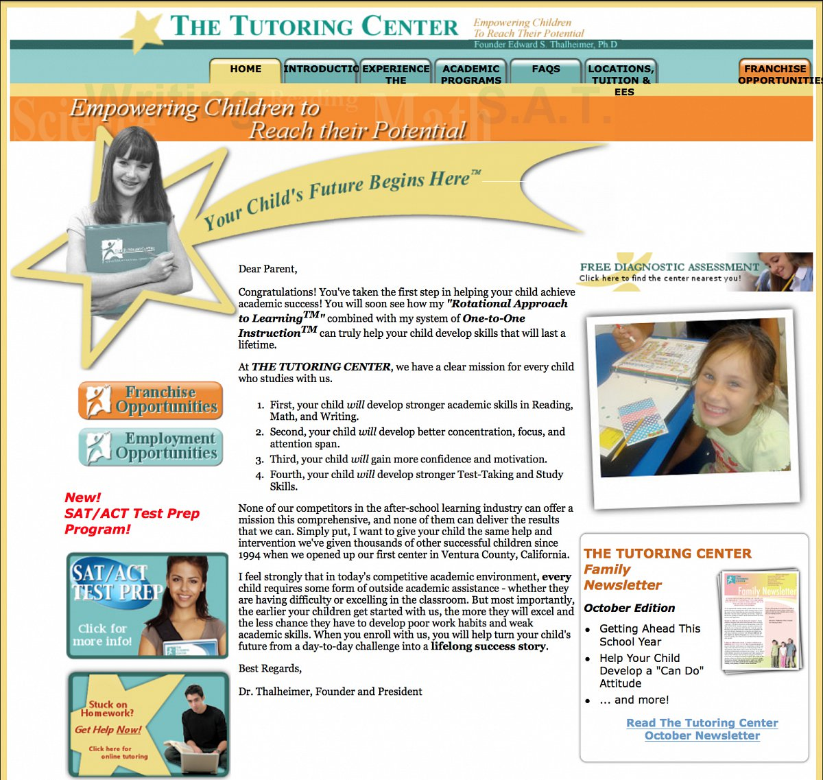 Previous homepage for The Tutoring Center